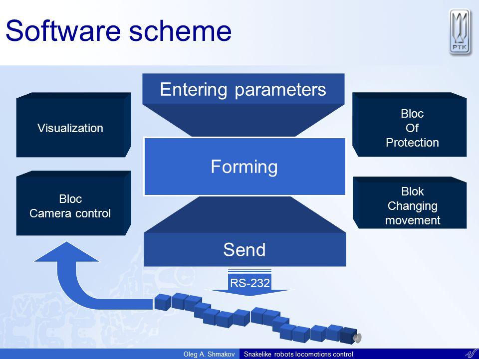 Software scheme Entering parameters Forming Send Visualization Bloc Of