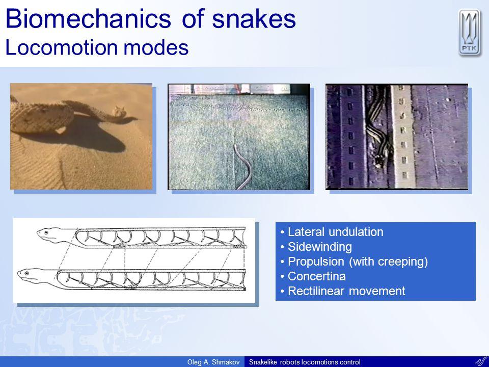 Biomechanics of snakes Locomotion modes