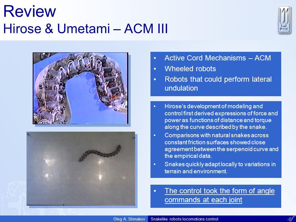 Review Hirose & Umetami – ACM III