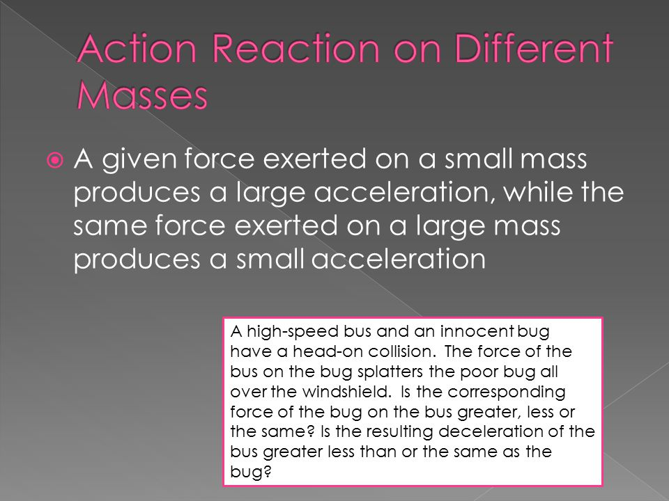 Action Reaction on Different Masses