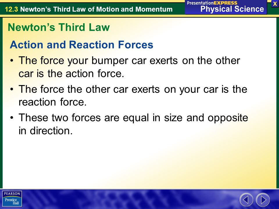 Newton's Third Law Action and Reaction Forces. The force your bumper car exerts on the other car is the action force.