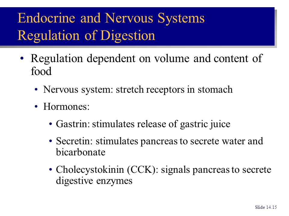 Endocrine and Nervous Systems Regulation of Digestion
