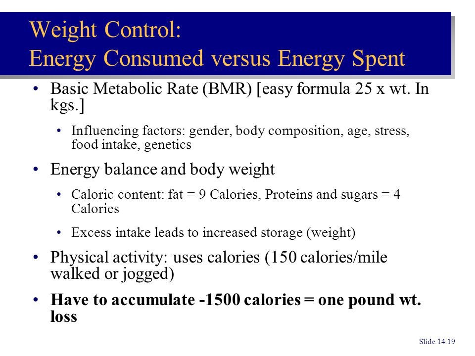 Weight Control: Energy Consumed versus Energy Spent