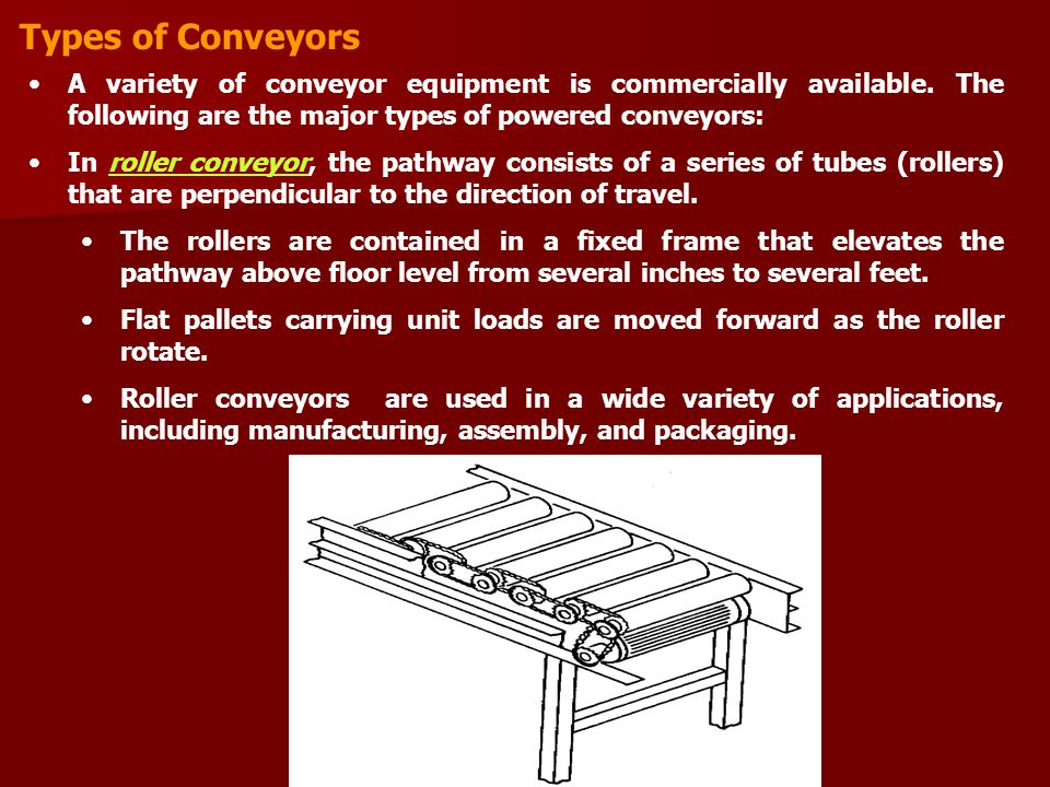 Types of Conveyors A variety of conveyor equipment is commercially available. The following are the major types of powered conveyors:
