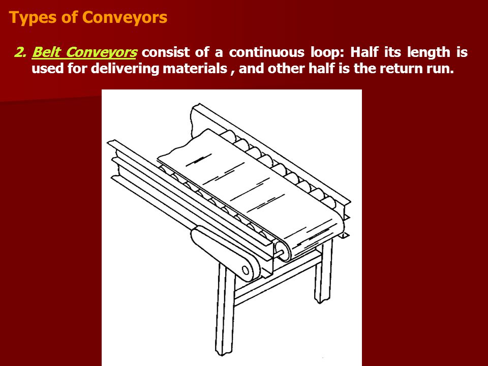 Types of Conveyors Belt Conveyors consist of a continuous loop: Half its length is used for delivering materials , and other half is the return run.