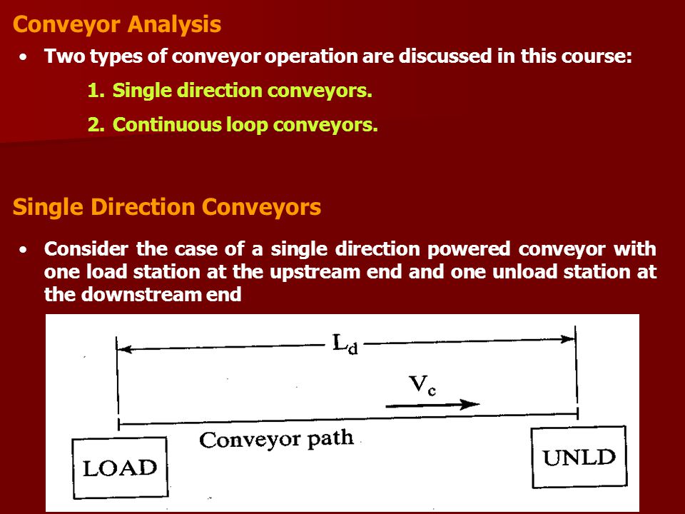 Single Direction Conveyors