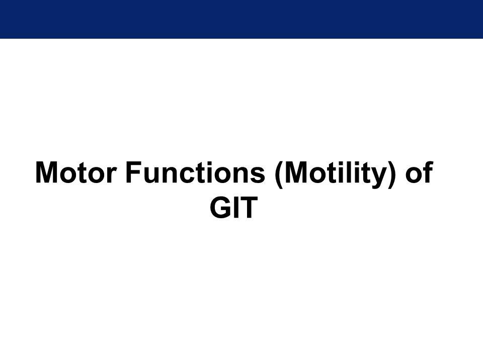 Motor Functions (Motility) of GIT