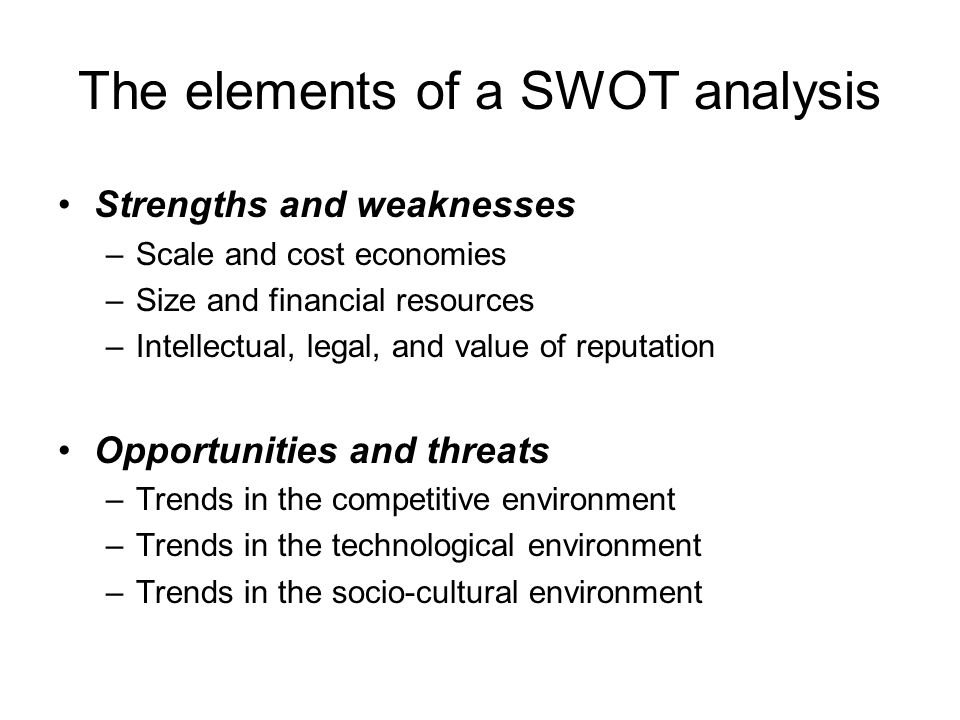 The elements of a SWOT analysis