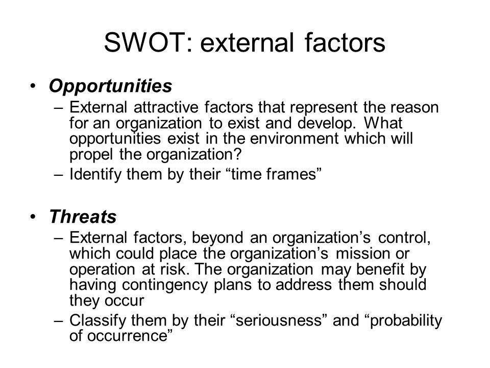 SWOT: external factors