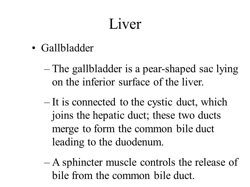 Liver Gallbladder. The gallbladder is a pear-shaped sac lying on the inferior surface of the liver.