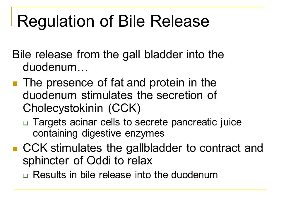Regulation of Bile Release