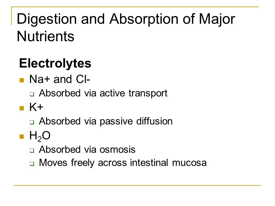 Digestion and Absorption of Major Nutrients