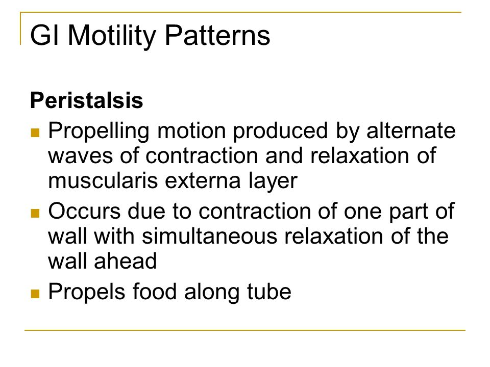 GI Motility Patterns Peristalsis