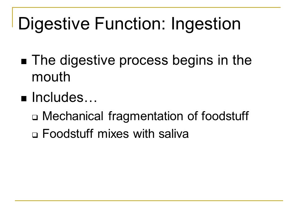 Digestive Function: Ingestion