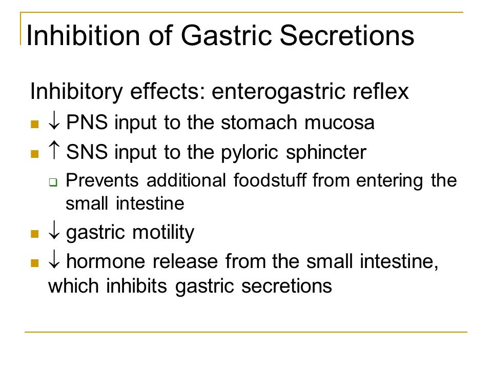 Inhibition of Gastric Secretions