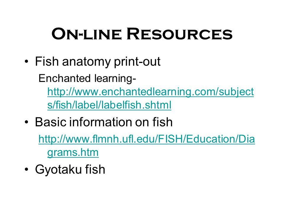 On-line Resources Fish anatomy print-out Basic information on fish