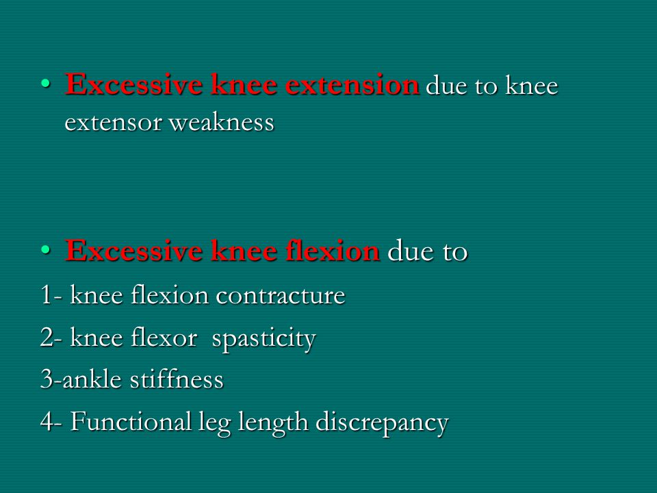 Excessive knee extension due to knee extensor weakness