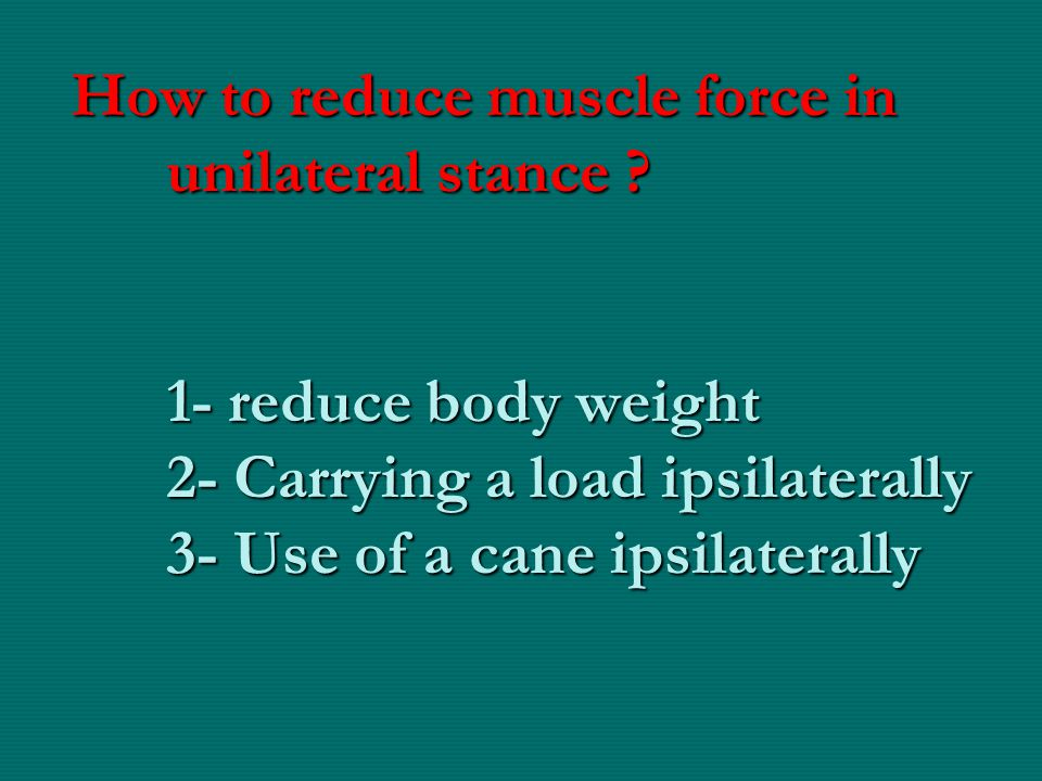 How to reduce muscle force in unilateral stance