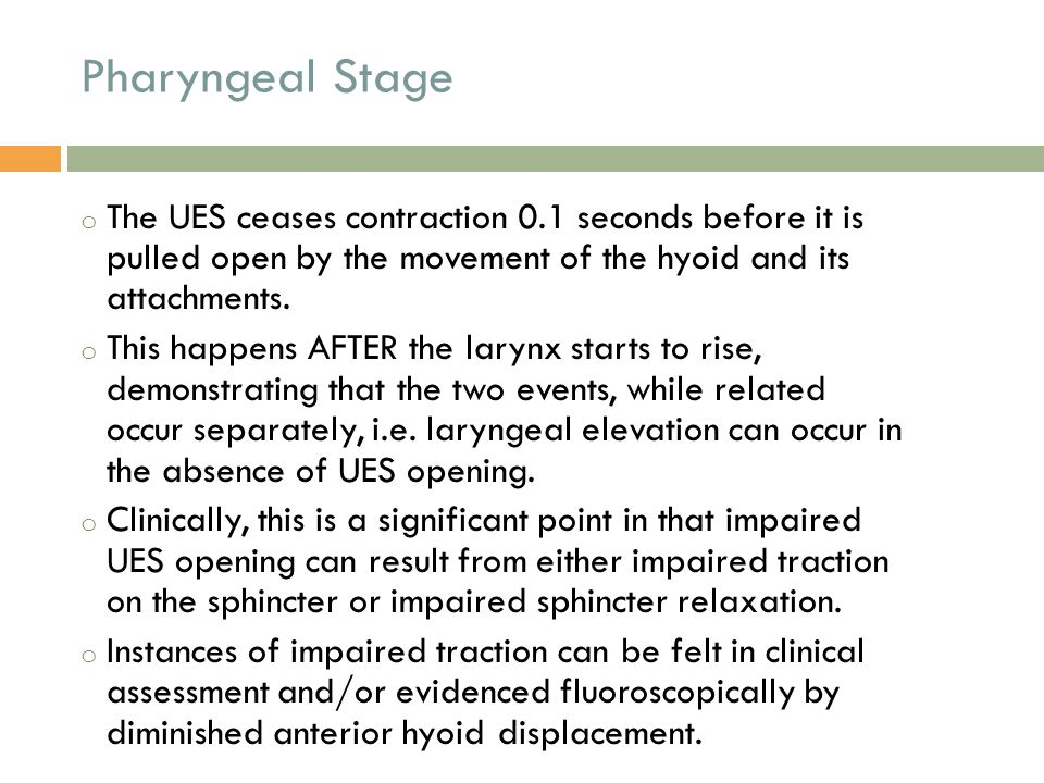 Pharyngeal Stage The UES ceases contraction 0.1 seconds before it is pulled open by the movement of the hyoid and its attachments.