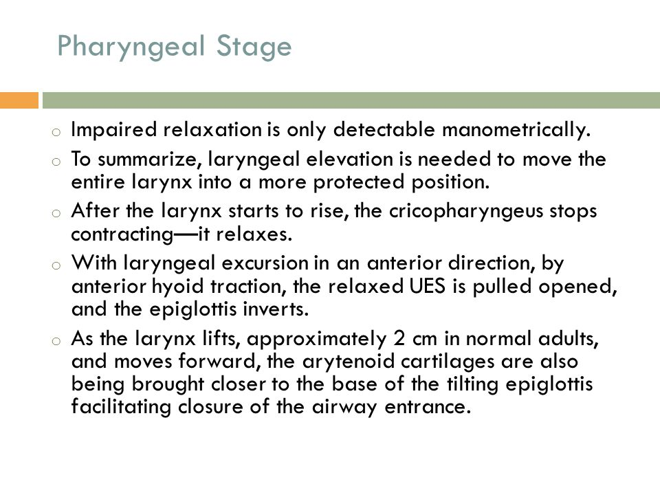 Pharyngeal Stage Impaired relaxation is only detectable manometrically.