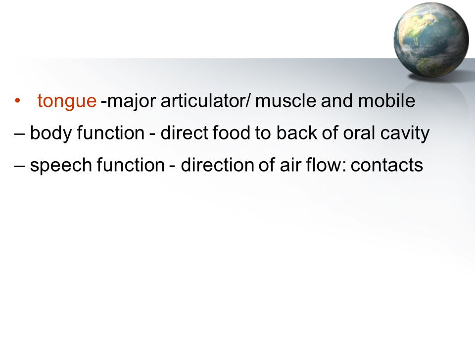 tongue -major articulator/ muscle and mobile