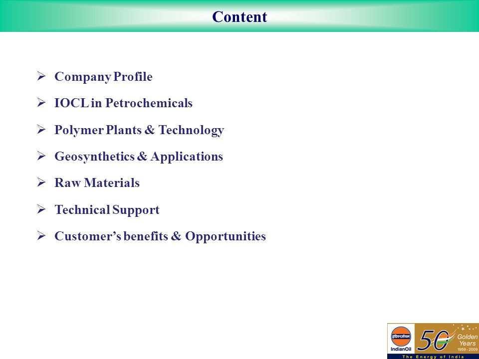 Content Company Profile IOCL in Petrochemicals