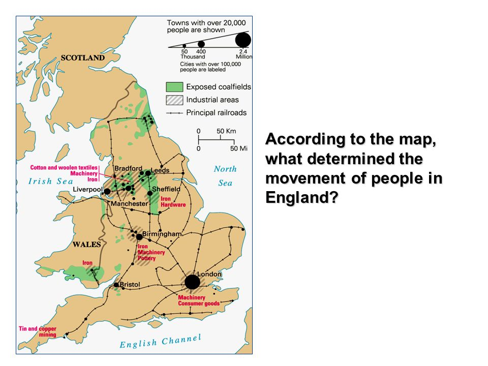 According to the map, what determined the movement of people in England