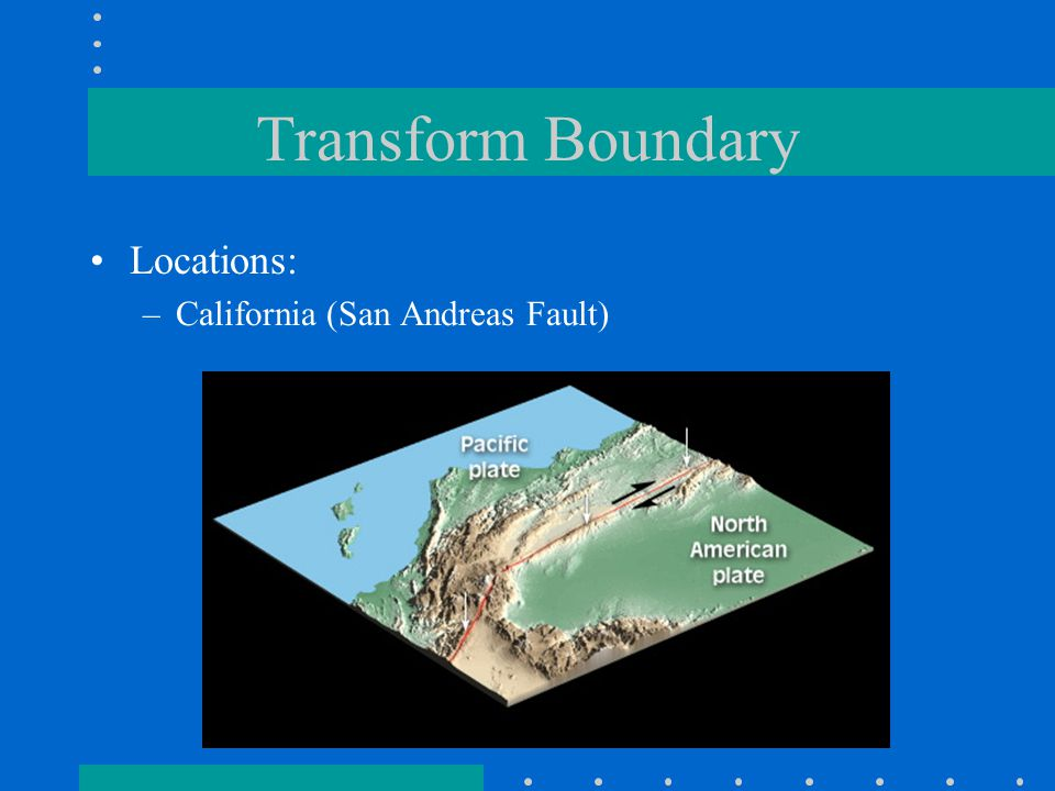 Transform Boundary Locations: California (San Andreas Fault)