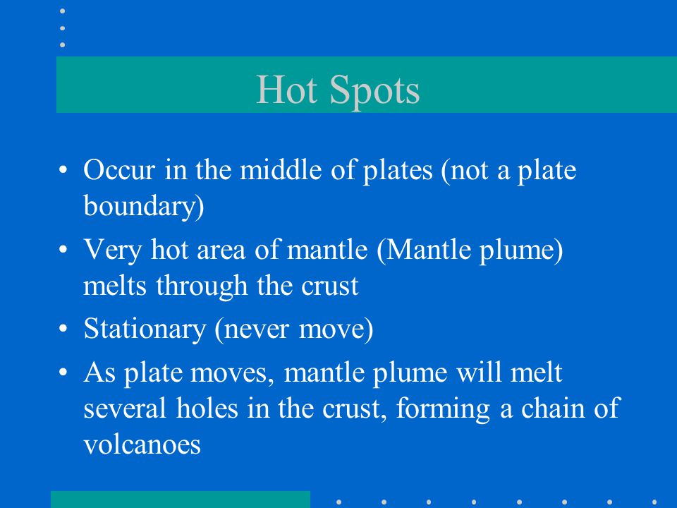 Hot Spots Occur in the middle of plates (not a plate boundary)
