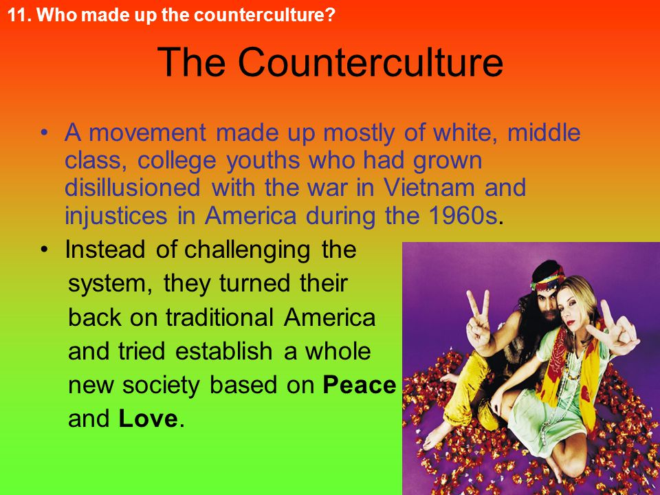 11. Who made up the counterculture