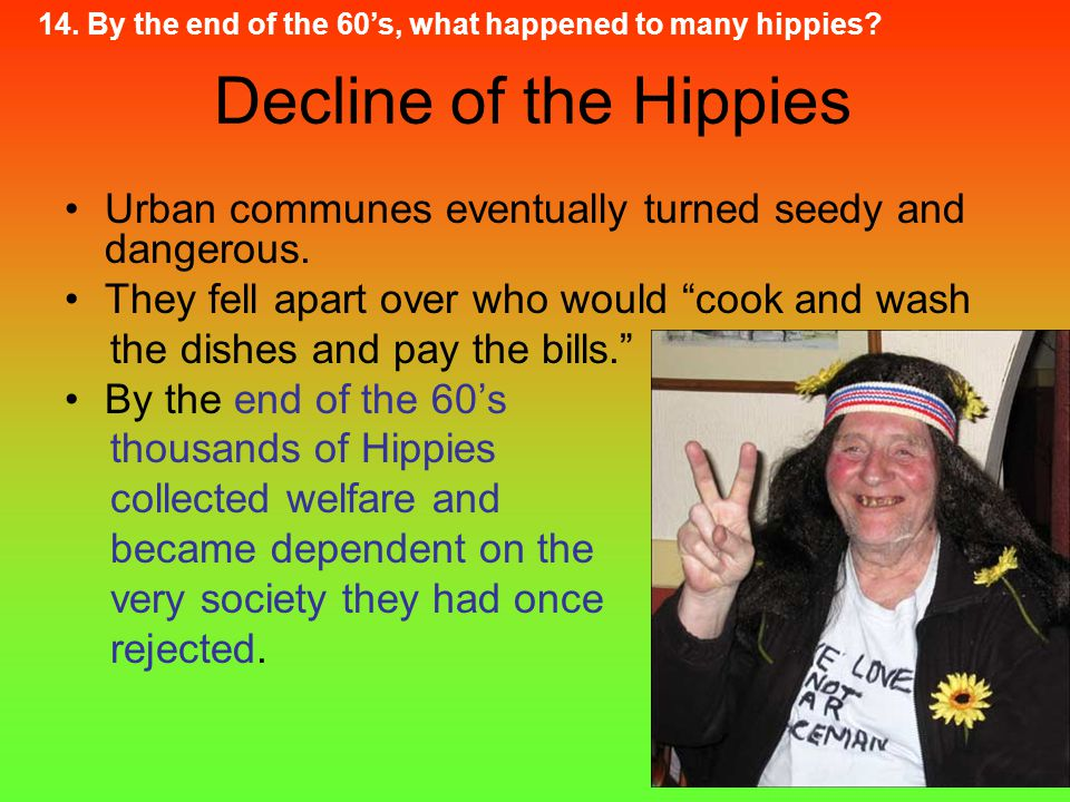 14. By the end of the 60's, what happened to many hippies