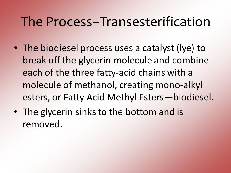The Process--Transesterification