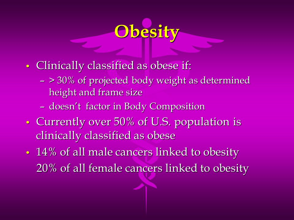 Obesity Clinically classified as obese if: