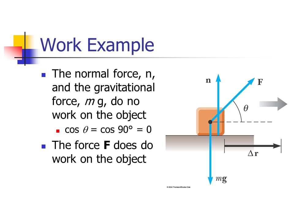 Work Example The normal force, n, and the gravitational force, m g, do no work on the object. cos q = cos 90° = 0.