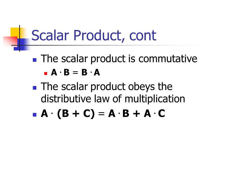 Scalar Product, cont The scalar product is commutative