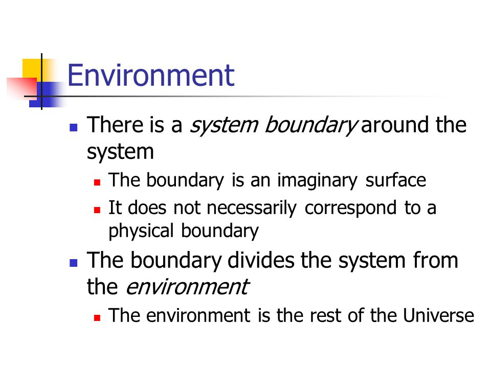 Environment There is a system boundary around the system