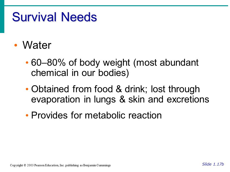 Survival Needs Water. 60–80% of body weight (most abundant chemical in our bodies)