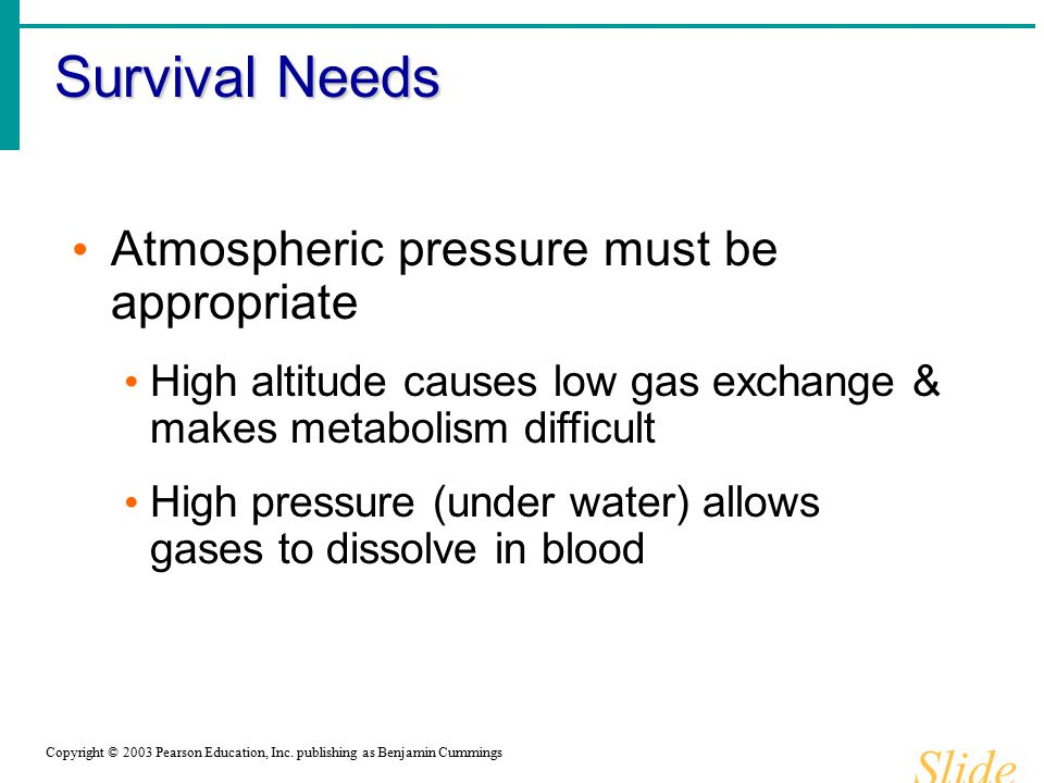 Survival Needs Slide 1.17b Atmospheric pressure must be appropriate