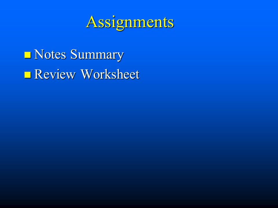Assignments Notes Summary Review Worksheet
