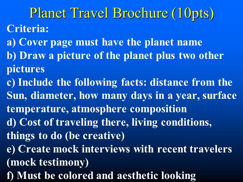 Planet Travel Brochure (10pts)