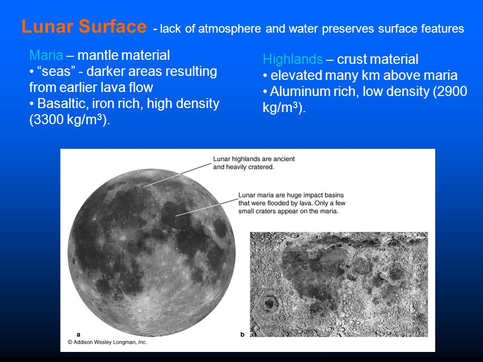 Lunar Surface - lack of atmosphere and water preserves surface features
