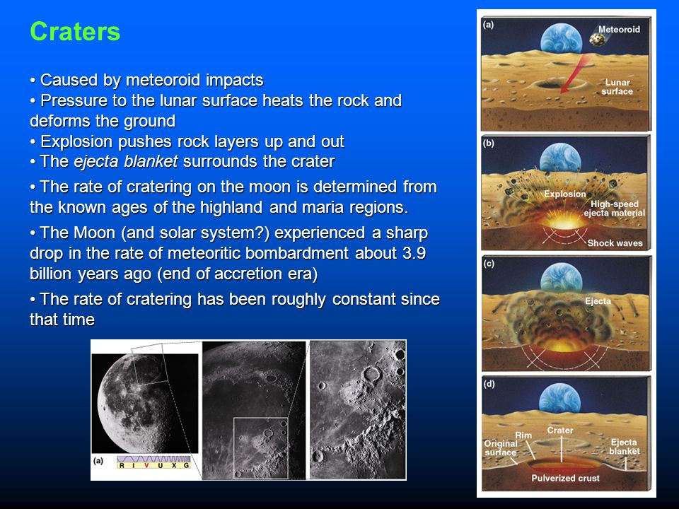 Craters Caused by meteoroid impacts
