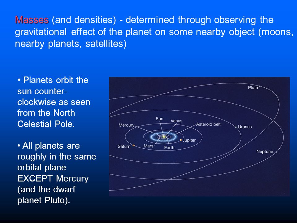 Masses (and densities) - determined through observing the gravitational effect of the planet on some nearby object (moons, nearby planets, satellites)