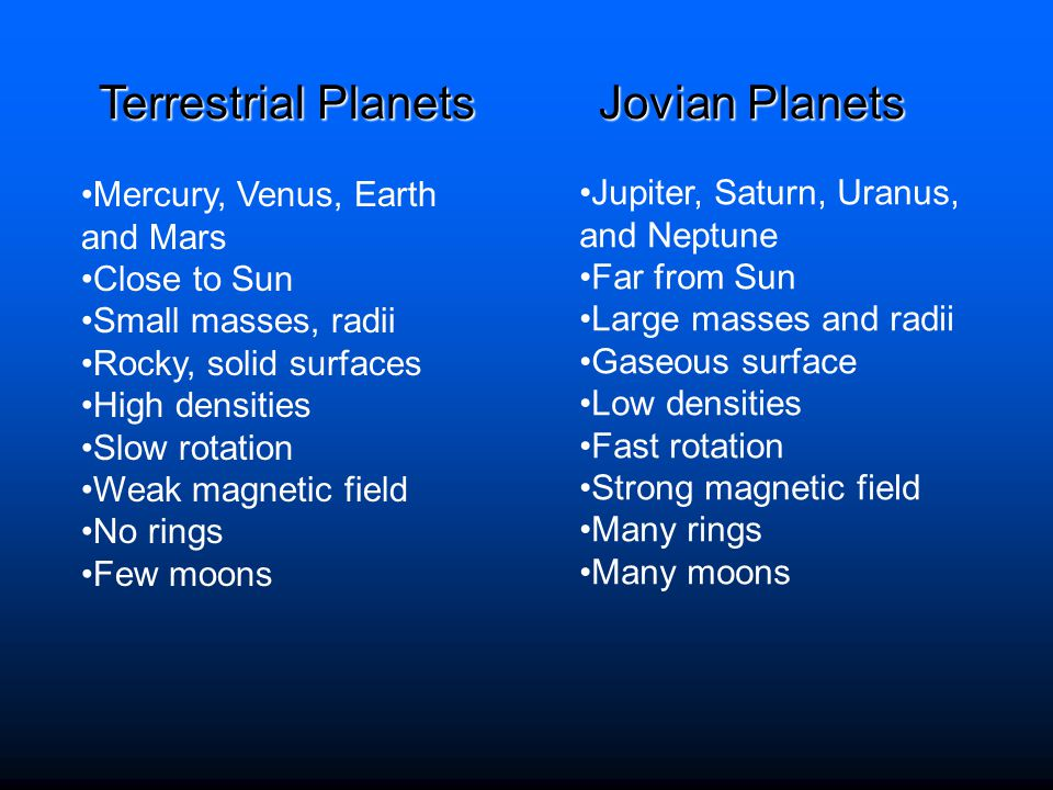 Terrestrial Planets Jovian Planets Mercury, Venus, Earth and Mars