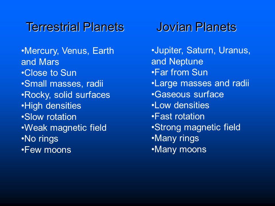 Terrestrial Planets Jovian Planets Mercury, Venus, Earth and Mars