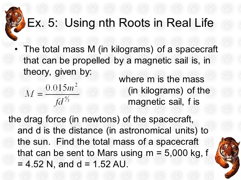Ex. 5: Using nth Roots in Real Life