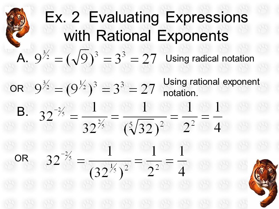 Ex. 2 Evaluating Expressions with Rational Exponents