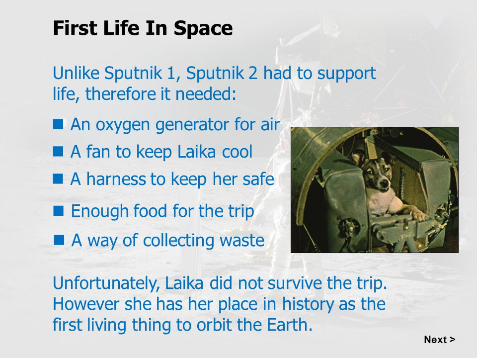 First Life In Space Unlike Sputnik 1, Sputnik 2 had to support life, therefore it needed: An oxygen generator for air.