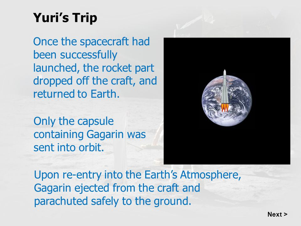 Yuri's Trip Once the spacecraft had been successfully launched, the rocket part dropped off the craft, and returned to Earth.