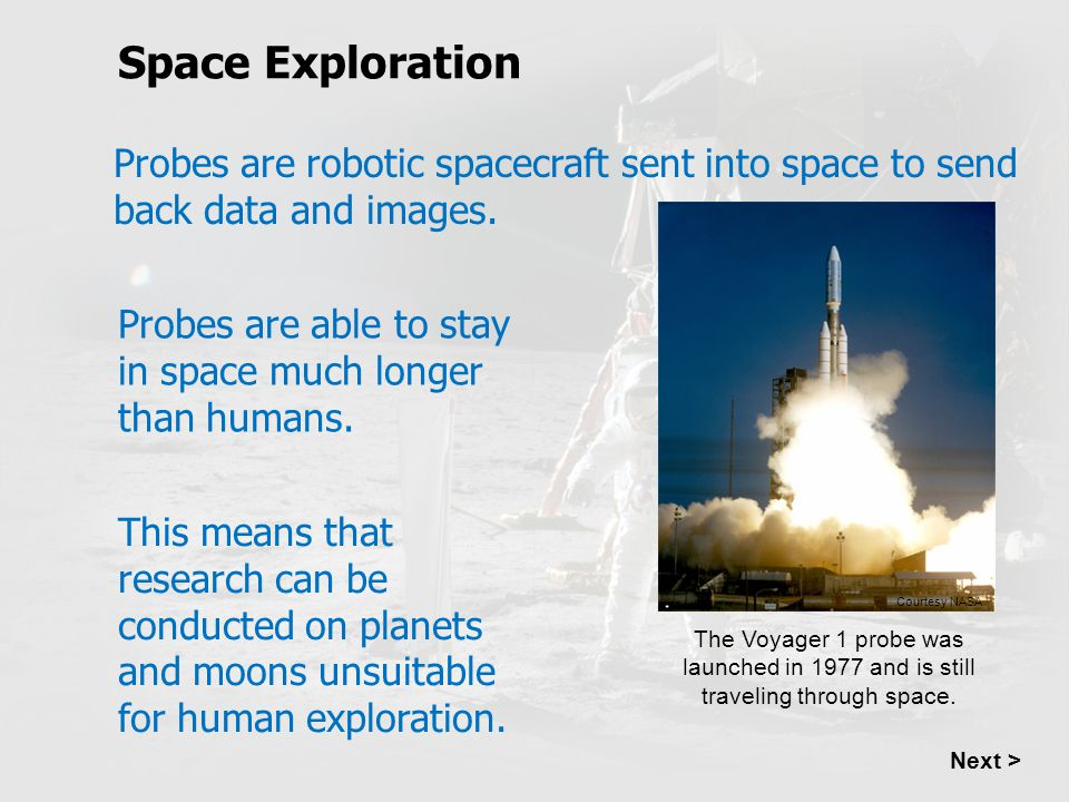 Space Exploration Probes are robotic spacecraft sent into space to send back data and images.